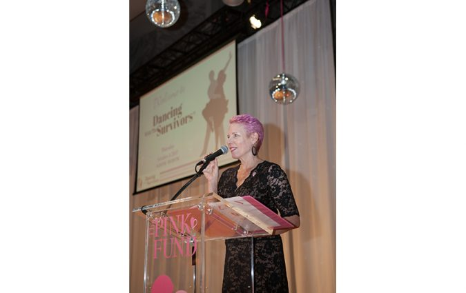 Molly speaking at the Pink Fund Dancing with the Survivors event