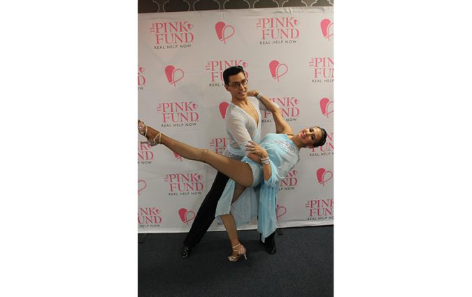 A dancing pair at the Pink Fund Dancing with the Survivors event